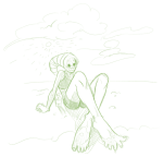 adventureisyou clouds peregrine_mendicant pm sitting sketch solo swimsuit