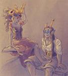 alternate_hair aradia_megido au barefoot blush body_modification crown equius_zahhak iron_maiden no_glasses piratestuck shipping syblatortue