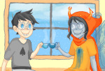 beans beverage blood con_heir dream_ghost godtier john_egbert light_aspect palerom shipping spade_shirt thief vriska_serket winter