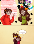 adventure_time blackrom crossover dancestors disney dream_ghost dreamself hercules kankri_vantas karkat_vantas katnep leijons meulin_leijon meulin_rouge my_little_pony nepeta_leijon shipping teacupkitty the_finger thought_balloon vantases