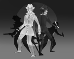 back_to_back grayscale handgun humanized jack_noir knife problem_sleuth problem_sleuth_(adventure) spades_slick starrisu tommy_gun