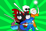 anonymous_artist beta_kids breath_aspect caledfwlch dave_strider dogtier godtier heir hunting_rifle jade_harley john_egbert knight light_aspect pose_as_a_team rose_lalonde seer space_aspect time_aspect warhammer_of_zillyhoo witch