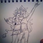 arm_around_shoulder dancestors godtier8itch grayscale hair_braid_sirens meenah_peixes shipping sketch vriska_serket