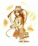aradia_megido caprette fedora indiana_jones monochrome parody solo whip