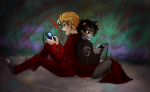back_to_back dave_strider gaming godtier karkat_vantas knight ryu-gemini sitting smiling_karkat