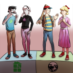beagle_puss blue_slime_ghost_shirt crossover earthbound john_egbert mother nintendo rose_lalonde sburb_logo