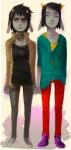 artist_collaboration casual fashion karkat_vantas milkwhiterabbit no_glasses poisonparfait rule63 terezi_pyrope wonk