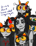 aradia_megido equius_zahhak feferi_peixes iron_maiden kanaya_maryam kanned_milk law_and_order meowrails neigh8ors nepeta_leijon no_glasses no_hat royal_pain shipping takara terezi_pyrope text vriska_serket