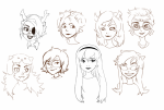 alternate_hair aradia_megido artist-in-training feferi_peixes girls headshot jade_harley kanaya_maryam lineart nepeta_leijon rose_lalonde terezi_pyrope vriska_serket