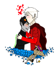 blush dave_strider derpingtoaster flower_crown flowers godtier heart karkat_vantas kiss knight no_glasses red_knight_district redrom shipping smiling_karkat time_aspect transparent wayward_vagabond wv
