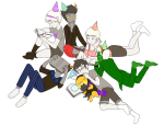book callie_ohpeee calliope casey deleted_source eridan_ampora hat jaspers john_egbert kanaya_maryam lineart loki on_stomach rag_of_demons rose_lalonde roxy_lalonde sitting sleeping