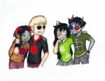 aradia_megido arm_around_shoulder aspect_symbol dave_strider dogtier doom_aspect double_time houndoom jade_harley mislamicpearl palerom shipping sollux_captor space_aspect time_aspect