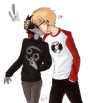 ! dave_strider heart karkat_vantas kiss red_baseball_tee red_knight_district redrom ryu-gemini shipping