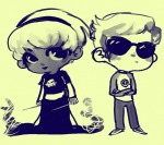 arms_crossed back_to_back black_squiddle_dress chibi dave_strider grayscale grimdark quills_of_echidna red_baseball_tee rose_lalonde siblings:daverose zhen