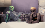 alternate_hair artist_needed au blackrom body_modification caliborn dirk_strider dirkuu fanfic_art shipping sitting strong_tanktop