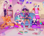 beverage bluearturtle bro cake crossdressing crown dave_strider davesprite dirk_strider food game_bro gaming ha_ha_ha,_oh_wow! hat injured_davesprite jade_harley jake_english meme multiple_personas rose_lalonde roxy_lalonde sprite styling_hair sweet_bro_and_hella_jeff undergarments