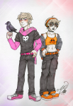 crows dave_strider freckles glasses_added headphones kidswap melanievimpula nsfwsource rose_lalonde squiddles