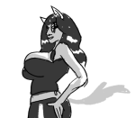 anonymous_artist dogtail dogtier grayscale jade_harley solo