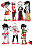 13th_cat all_kids alpha_kids au beta_kids black_squiddle_dress blood cocktail_glass cueball dave_strider decapitation dirk_strider hammer hunting_rifle jade_harley jake_english jane_crocker john_egbert ohgodwhat psychojohn red_baseball_tee rose_lalonde roxy_lalonde starter_outfit weapon