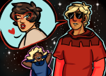 dave_strider godtier jane_crocker knight life_aspect maid minute_maid no_mask panel_redraw planethelium rogue roxy_lalonde stars time_aspect void_aspect word_balloon