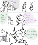 candy_timeline comic fpreg grubs homestuck^2 kanaya_maryam lineart rose_lalonde rosemary spinnedcycle vriska_maryam-lalonde word_balloon