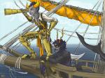 artificial_limb au cidraco fanfic_art gamzee_makara merfolk ocean pbj piratestuck robolegs tavros_nitram telescope
