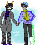 blush buzz_boys derpingtoaster fashion gamzee_makara holding_hands redrom shipping sollux_captor sweat winter