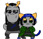 6ude crossover equius_zahhak huge meowrails nepeta_leijon pastiche pop_team_epic