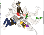 book callie_ohpeee calliope casey deleted_source eridan_ampora hat jaspers john_egbert kanaya_maryam lineart loki on_stomach rag_of_demons rose_lalonde roxy_lalonde sitting sleeping wip