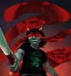 aranea_serket bard blindfold blood dancestors dragon_cane gamzee_makara godtier no_glasses rage_aspect redandblacktac terezi_pyrope