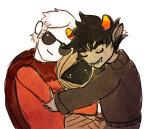 bromance canned_beats dave_strider godtier hug karkat_vantas knight ommanyte smiling_karkat the_three_muske-tiers time_aspect wayward_vagabond wv