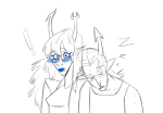 ! blush equius_zahhak head_on_shoulder neigh8ors scoundrel shipping vriska_serket