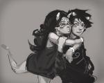 blush feferi_peixes grayscale hug karkat_vantas kiss lifeblood louiebonbon redrom shipping