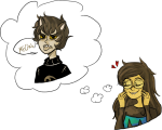 animal_ears bloodtier dress_of_eclectica heart jade_harley karkat_vantas kats_and_dogs redrom shipping thought_balloon word_balloon