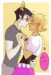 blush hacker_buddies holding_hands reef roxy_lalonde shipping sollux_captor thought_balloon