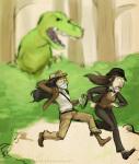 aradia_megido crossover dinosaur_comics dinosaurs indiana_jones jade_harley myluckyseven no_glasses trees