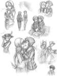 art_dump book chainsaw grayscale holding_hands kanaya_maryam redrom rose_lalonde rosemary shipping skepticarcher sketch tentacletherapist thorns_of_oglogoth thought_balloon trollified winter