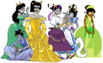 alice_in_wonderland andrew_hussie arshana beauty_and_the_beast cinderella crossdressing crossover disney equius_zahhak eridan_ampora feferi_peixes frogs gamzee_makara javvie karkat_vantas lusus seahorsedad the_hunchback_of_notre_dame the_little_mermaid the_princess_and_the_frog