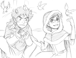 beauty_and_the_beast communism crossdressing crossover disney grayscale john_egbert karkat_vantas redrom shipping sketch tubbs