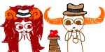 aradia_megido crossover doodles fedora frogs indiana_jones source_needed tavros_nitram team_charge