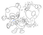 chibi decapitation equius_zahhak highlight_color lineart solo source_needed sourcing_attempted sparbots strife