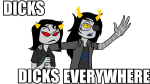 arm_around_shoulder artificial_limb disney meme parody pixar scourge_sisters source_needed sourcing_attempted terezi_pyrope toy_story vriska_serket walking_cane x_x_everywhere