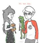 3_in_the_morning_dress crossover dave_strider frogs jade_harley paperartichokes red_baseball_tee the_muppets